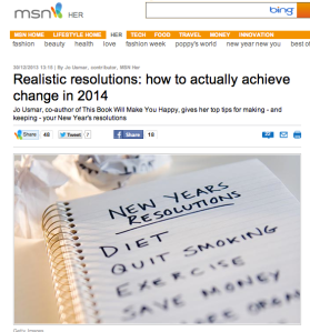 MSN New Year resolutions feature